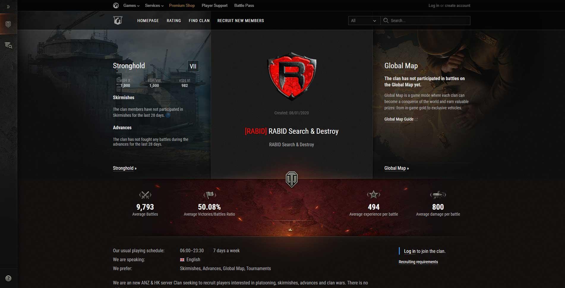 RABID CLAN recruitment page